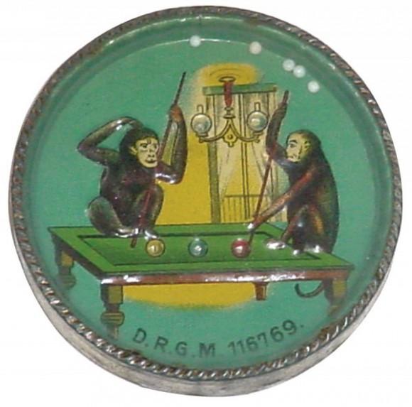 Pool Playing Monkeys Pocket Mirror