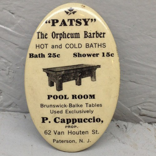Patsy Orpheum Barber Pocket Mirror | Paterson, New Jersey